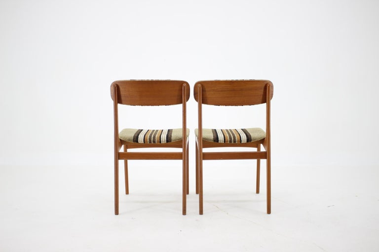 Fabric 1960s Danish Teak Dining Chairs, Set of 4 For Sale