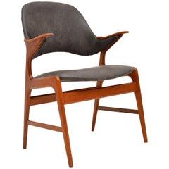 1960s Danish Teak & Leather Armchair by Arne Hovmand-Olsen
