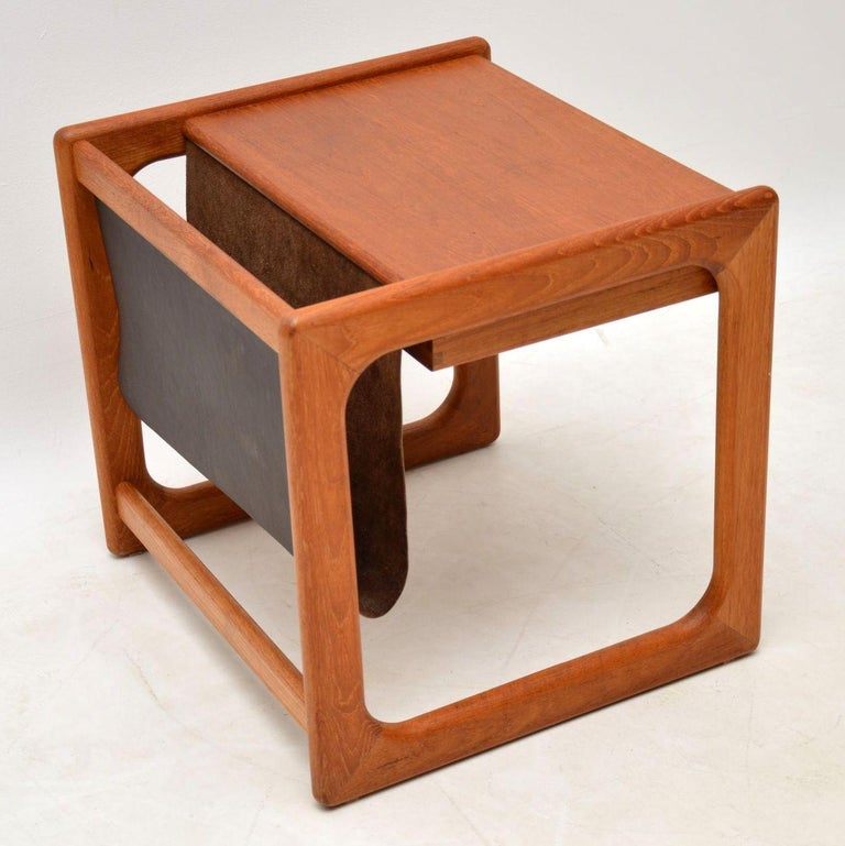 1960s Danish Teak and Leather Side Table Magazine Rack For Sale 6