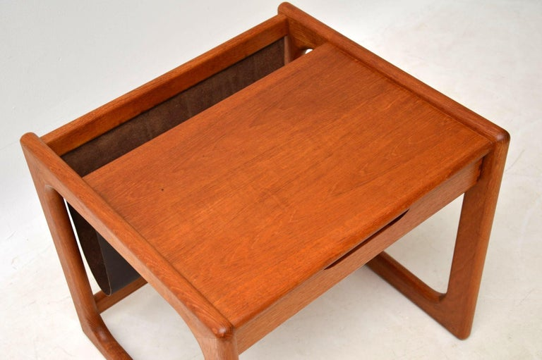 1960s Danish Teak and Leather Side Table Magazine Rack For Sale 7