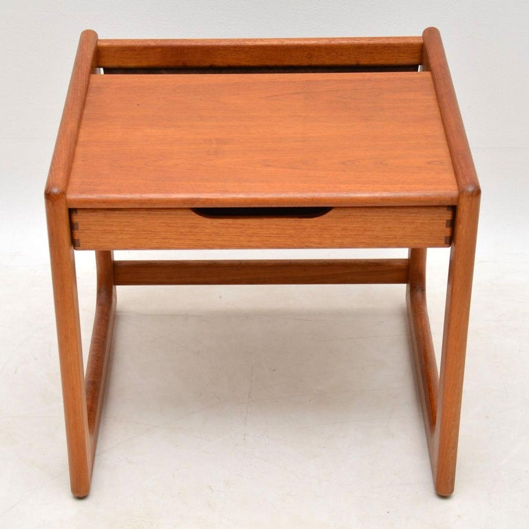 Mid-Century Modern 1960s Danish Teak and Leather Side Table Magazine Rack For Sale