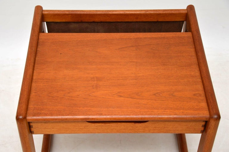 1960s Danish Teak and Leather Side Table Magazine Rack For Sale 1