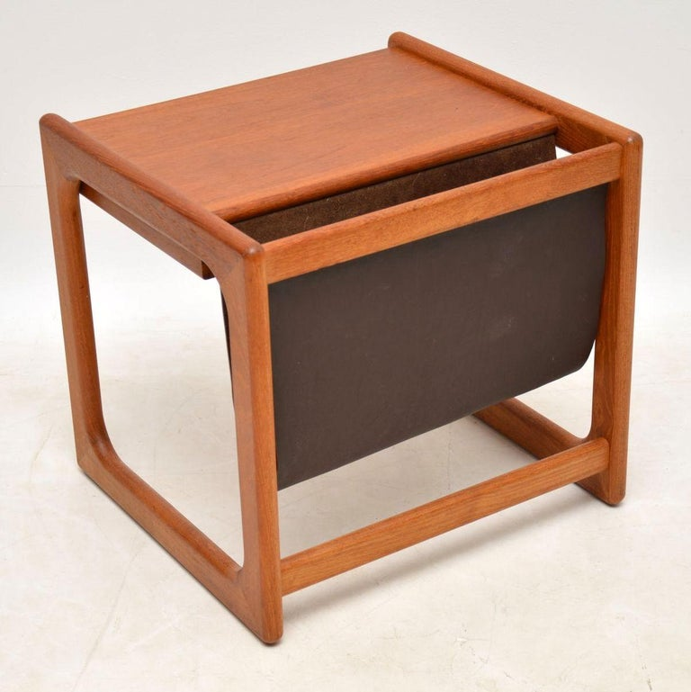 1960s Danish Teak and Leather Side Table Magazine Rack For Sale 2
