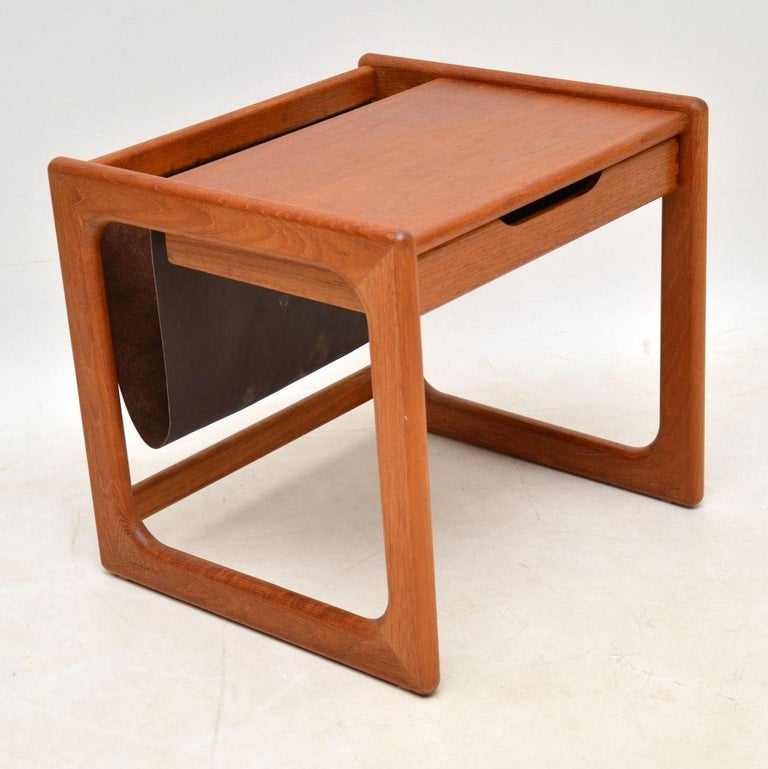 1960s Danish Teak and Leather Side Table Magazine Rack For Sale 3