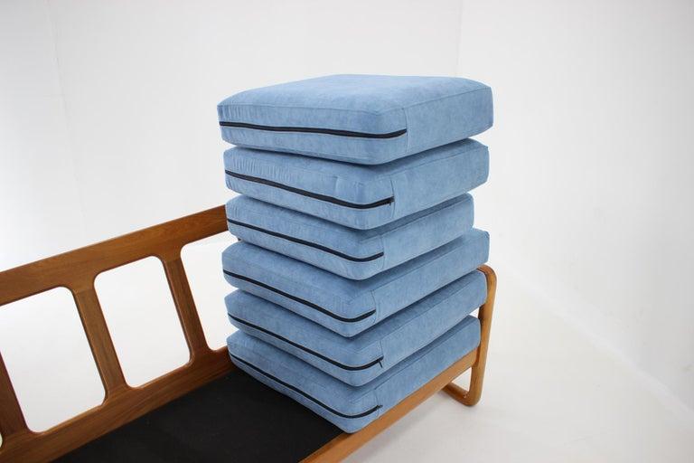 Fabric 1960s Danish Teak Organic 3-Seat Sofa For Sale