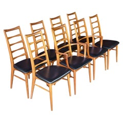 1960s Danish Teak Tall Horn Back Scandinavian Ski Lodge Dining Chair Set of 8