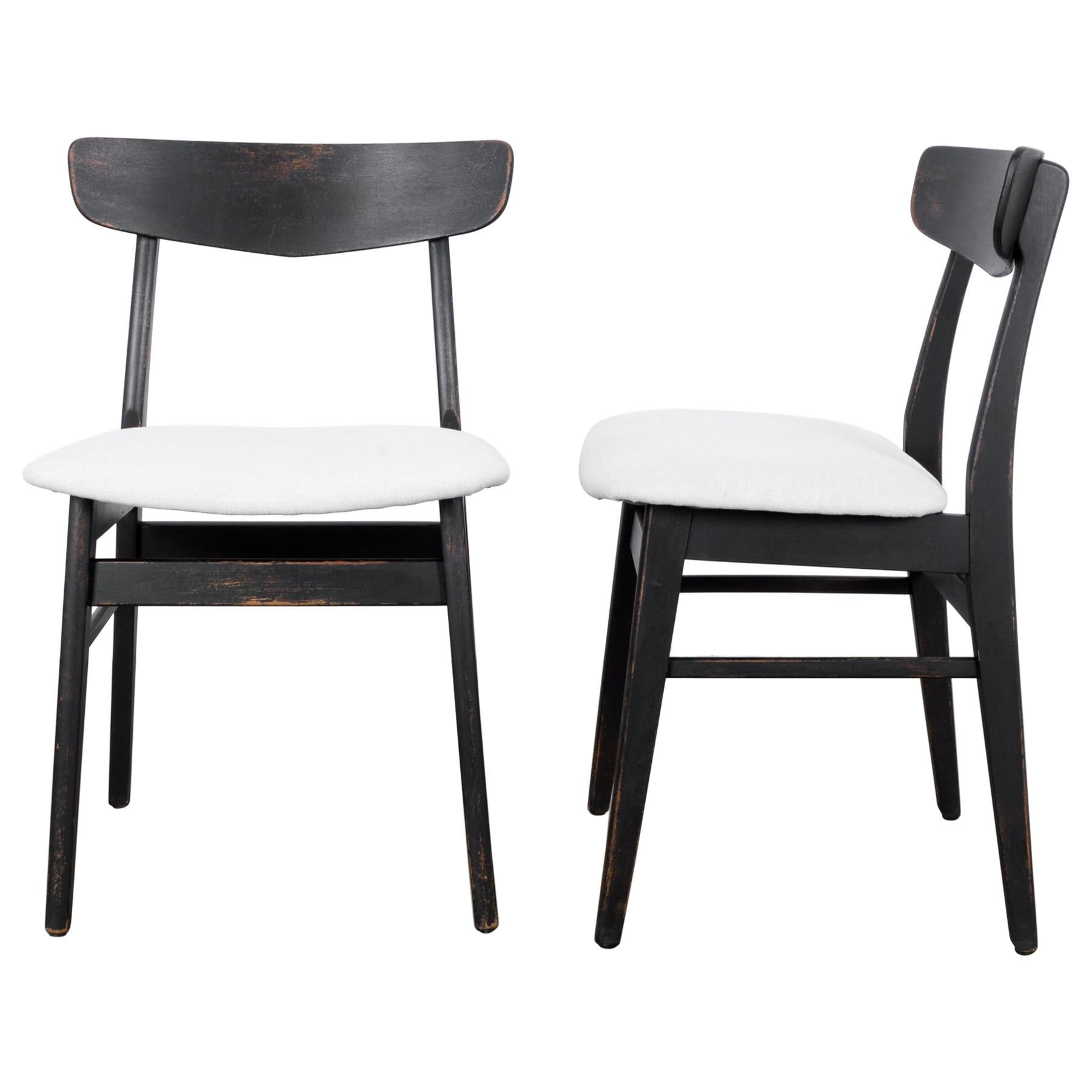 1960s Danish Upholstered Black Chairs, a Pair
