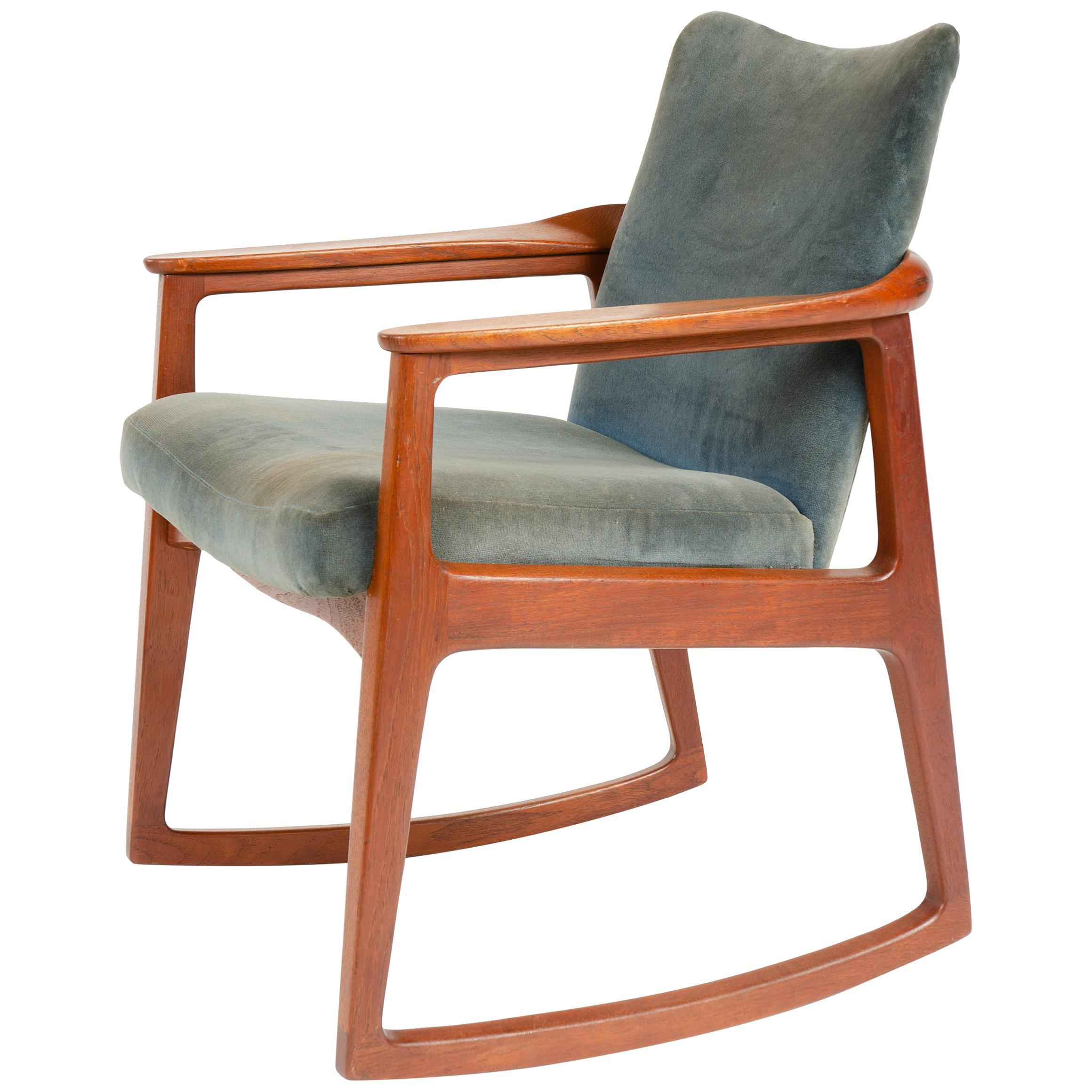 1960s Danish Upholstered Rocking Chair by Sigvard Bernadotte for France & Son
