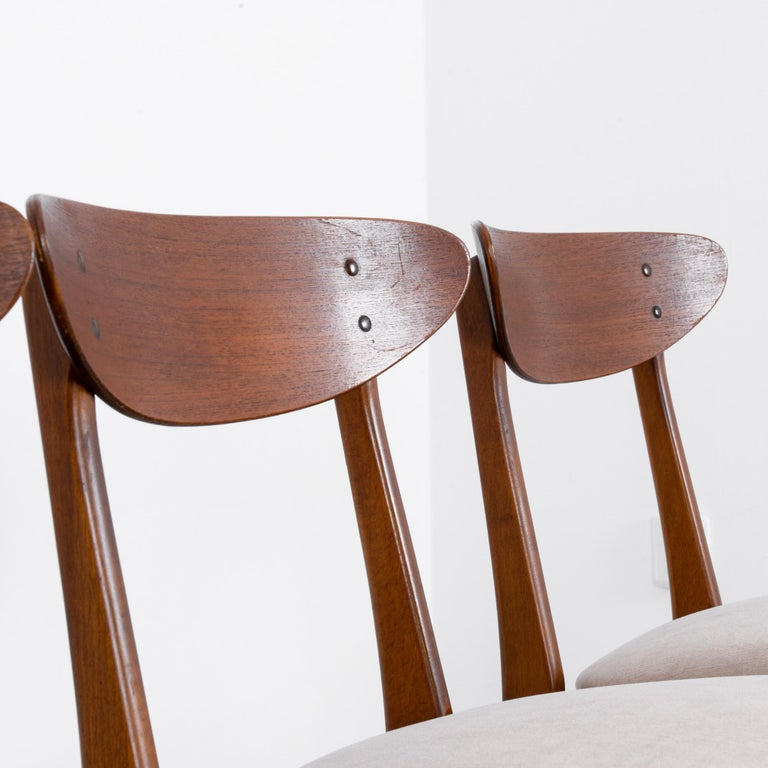 1960s Danish Upholstered Teak Chairs, Set of Four For Sale 4