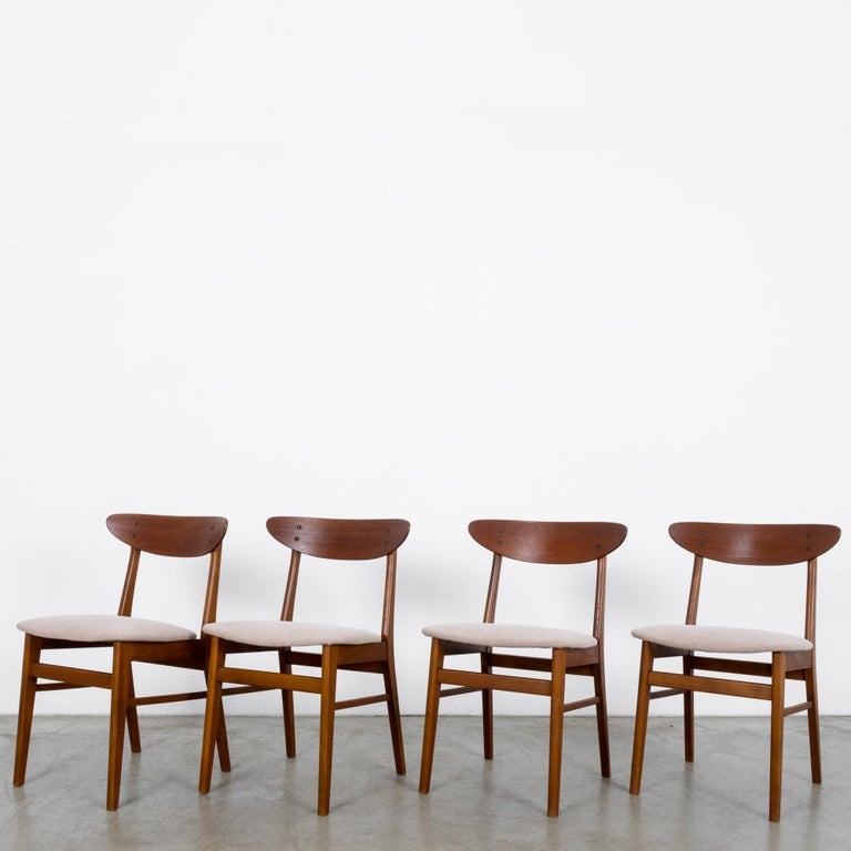 Mid-Century Modern 1960s Danish Upholstered Teak Chairs, Set of Four For Sale