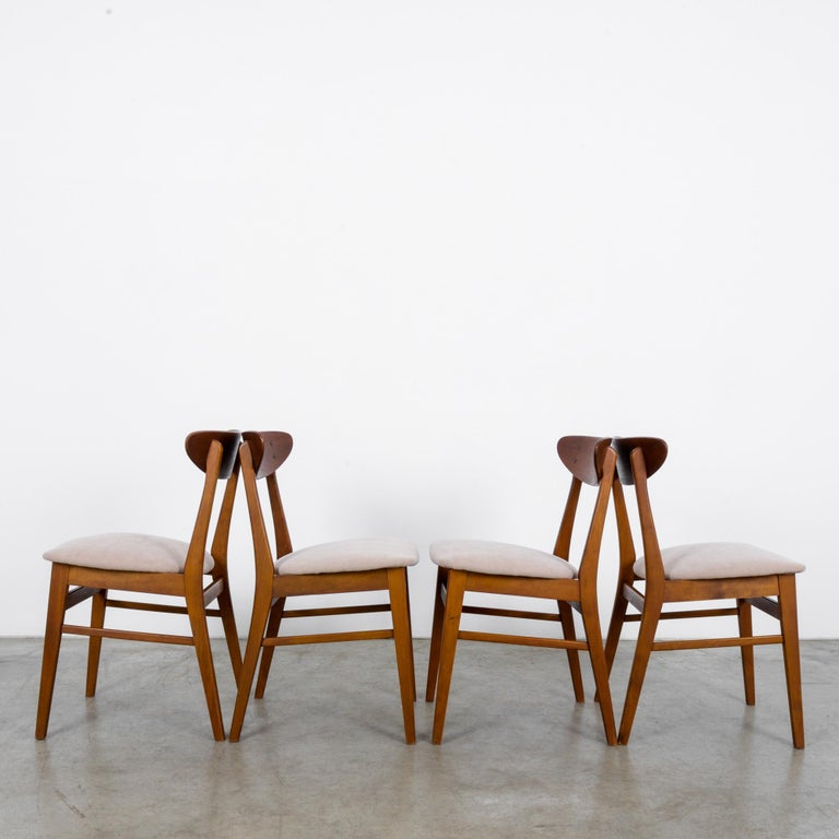 1960s Danish Upholstered Teak Chairs, Set of Four In Good Condition For Sale In High Point, NC