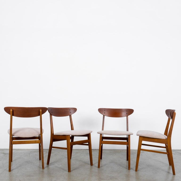Mid-20th Century 1960s Danish Upholstered Teak Chairs, Set of Four For Sale
