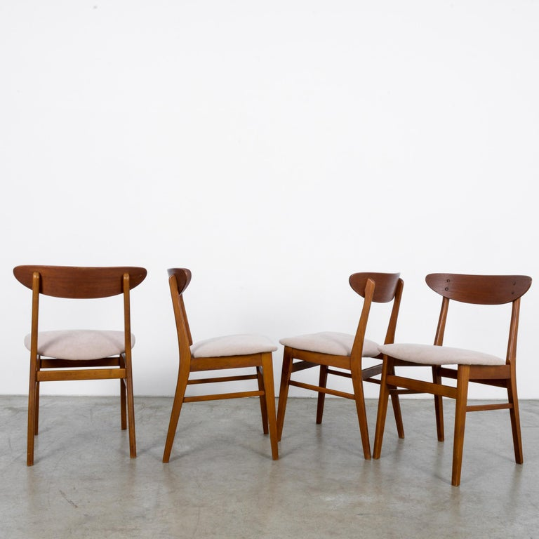 Fabric 1960s Danish Upholstered Teak Chairs, Set of Four For Sale