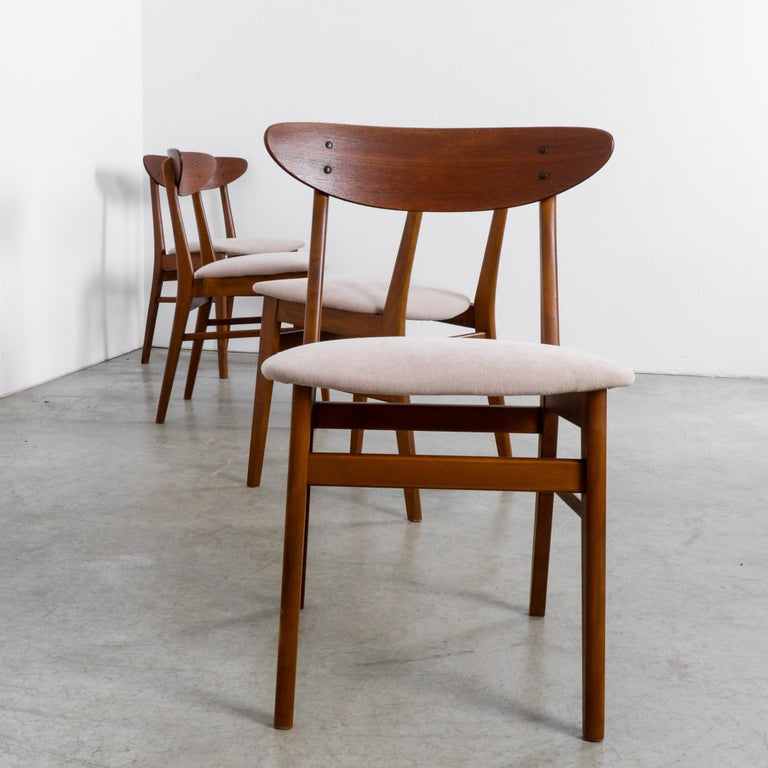 1960s Danish Upholstered Teak Chairs, Set of Four For Sale 1