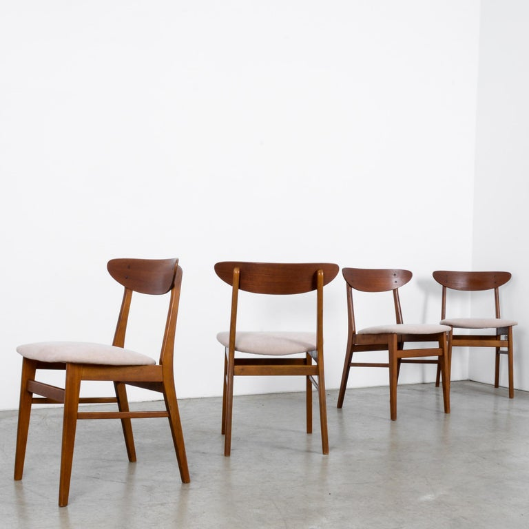 1960s Danish Upholstered Teak Chairs, Set of Four For Sale 2
