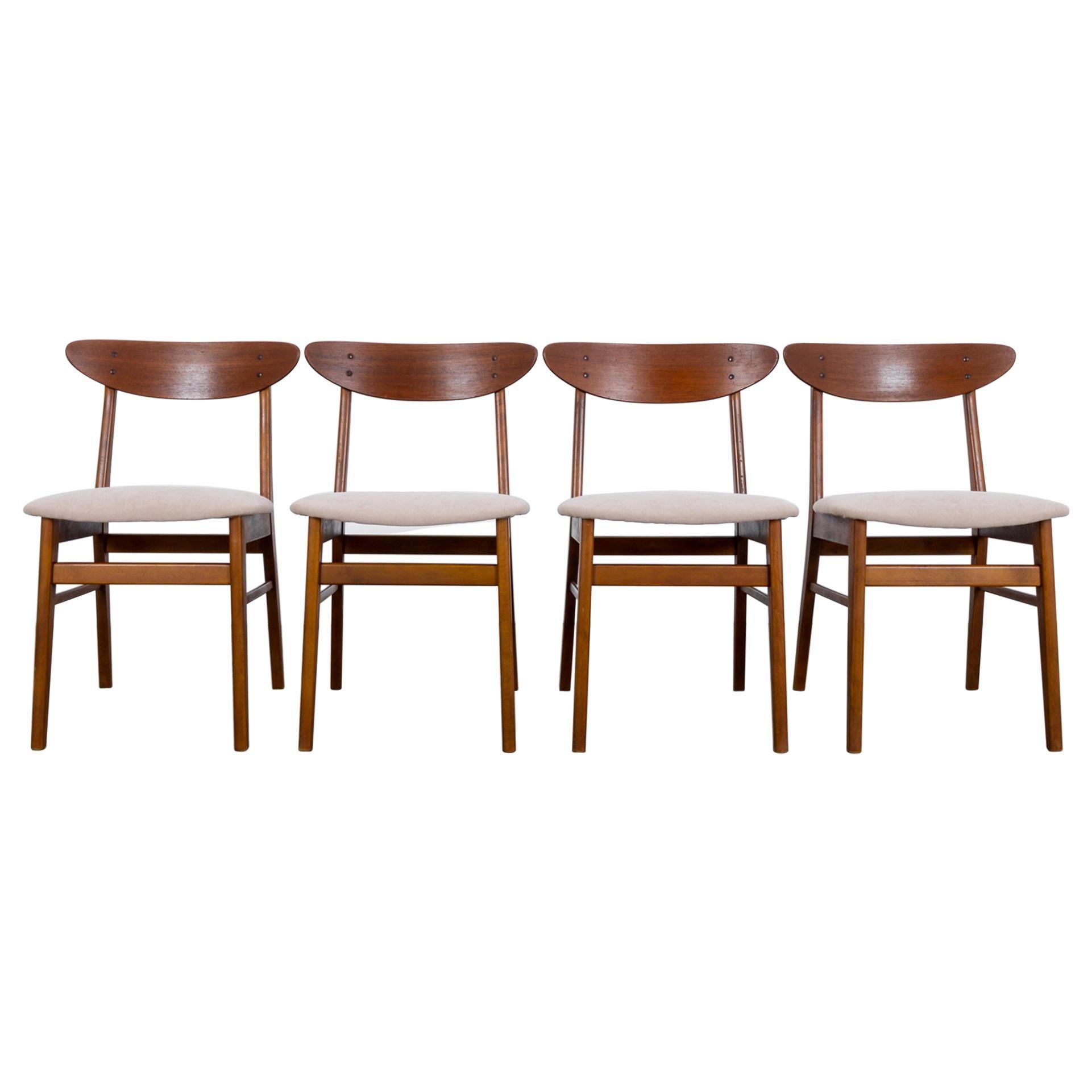 1960s Danish Upholstered Teak Chairs, Set of Four
