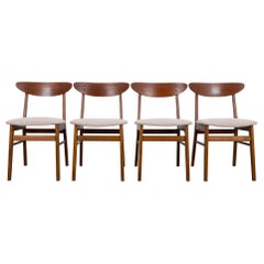 1960s Danish Upholstered Teak Chairs, Set of Four