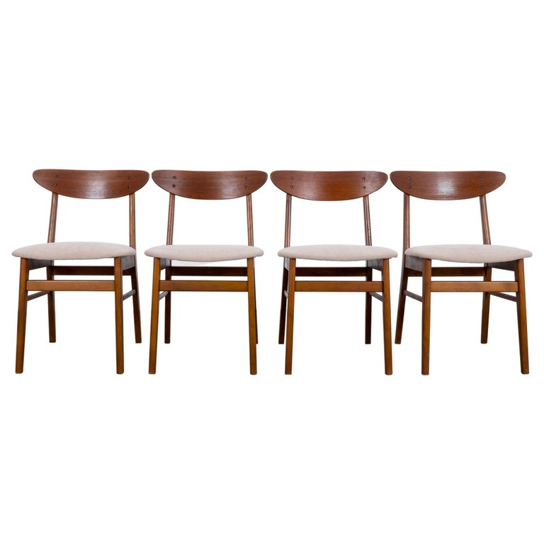 1960s Danish Upholstered Teak Chairs, Set of Four For Sale