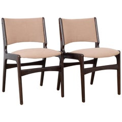 1960s Danish Upholstered Wooden Chairs, a Pair