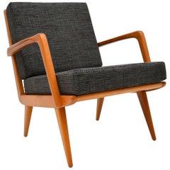 1960s Danish Vintage Cherry Wood Armchair