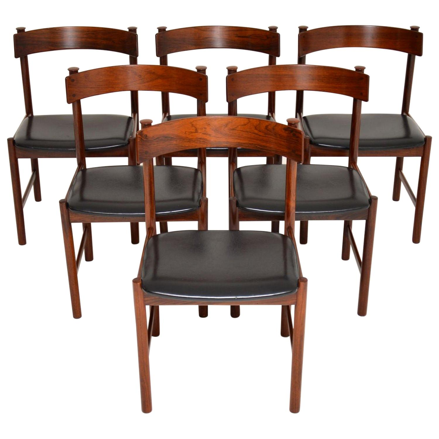 1960s Danish Vintage Dining Chairs, Set of 6