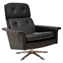 1960s Danish Vintage Leather Swivel Armchair by Johannes Andersen