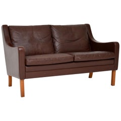 1960s Danish Vintage Leather Two-Seat Sofa