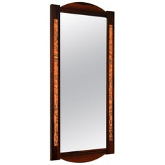 1960s Danish Vintage Wood & Copper Mirror