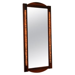 1960s Danish Vintage Wood and Copper Mirror