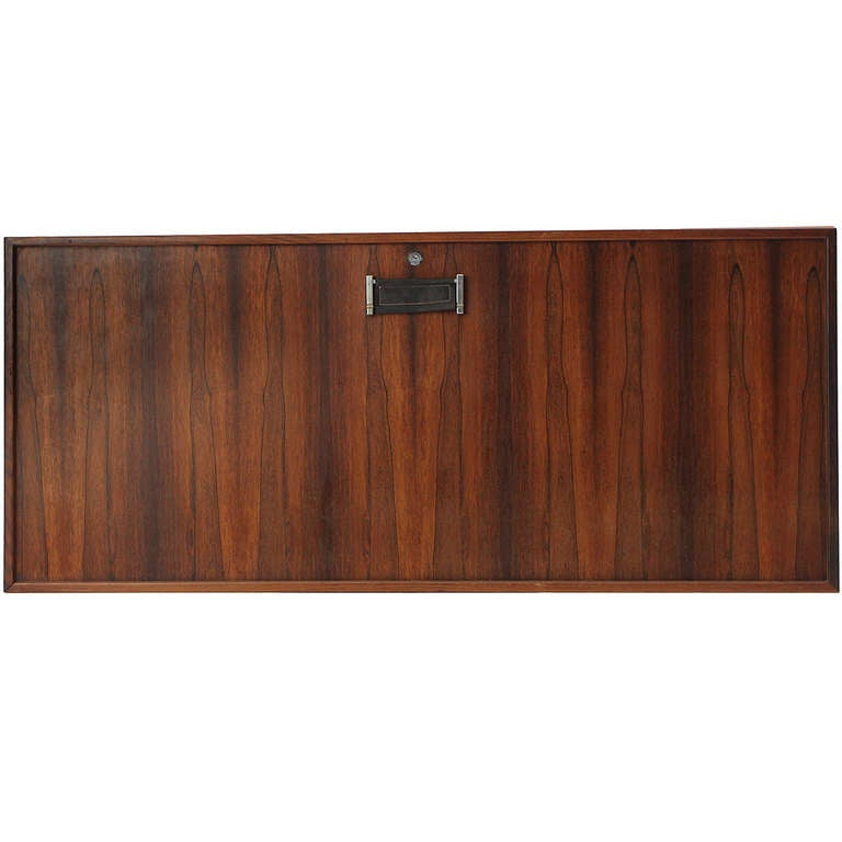1960s Danish Wall-Mounted Rosewood Bar Cabinet by Dyrlund In Good Condition For Sale In Sagaponack, NY