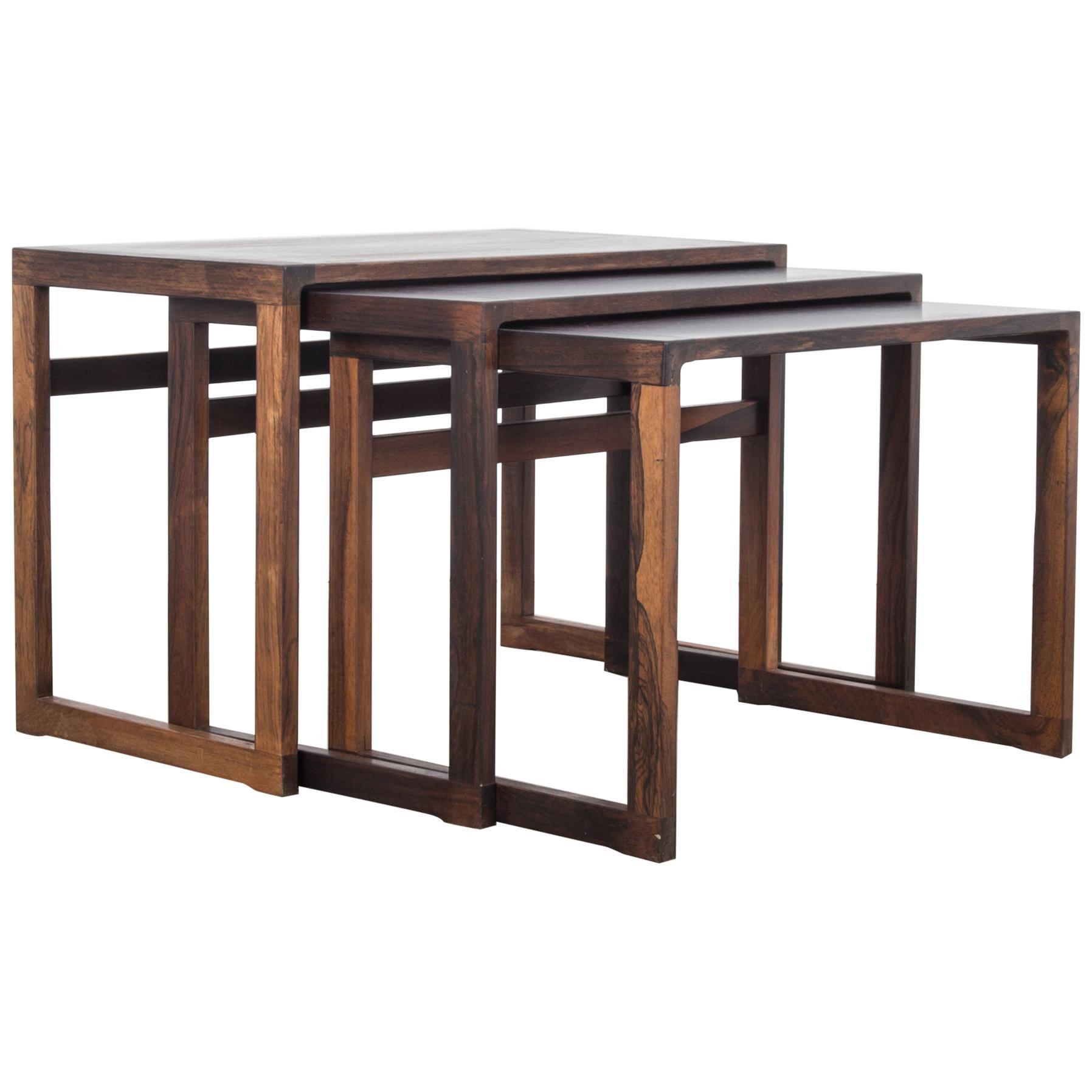 1960s Danish Wooden Nesting Tables, Set of Three