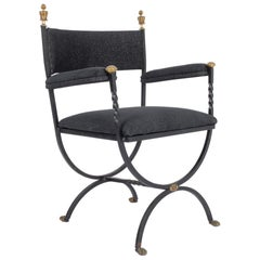1960s Danish Wrought Iron Upholstered Side Chair