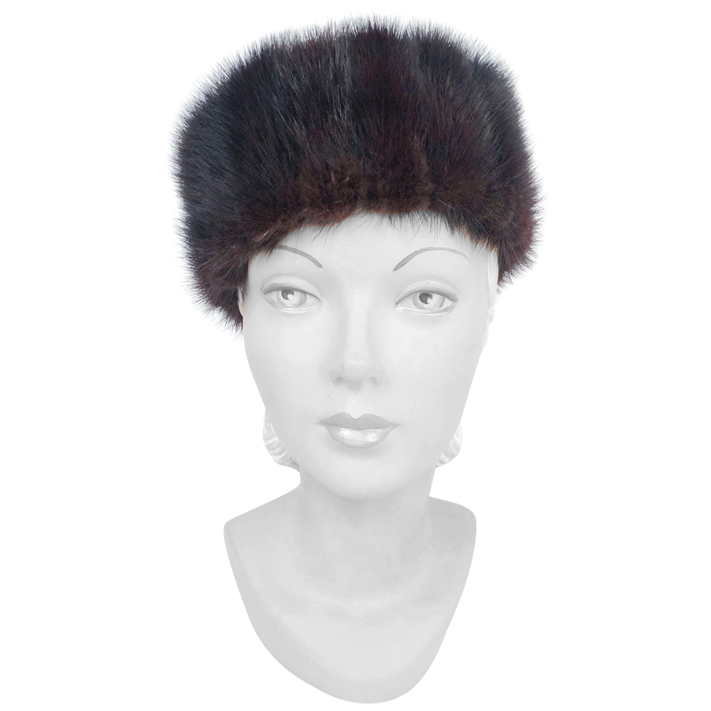 1960s Dark Brown Mink Pillbox Hat