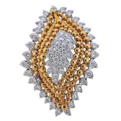 1960s David Webb Diamond Gold Platinum Brooch Pin