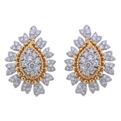1960s David Webb Diamond Platinum Gold Earrings