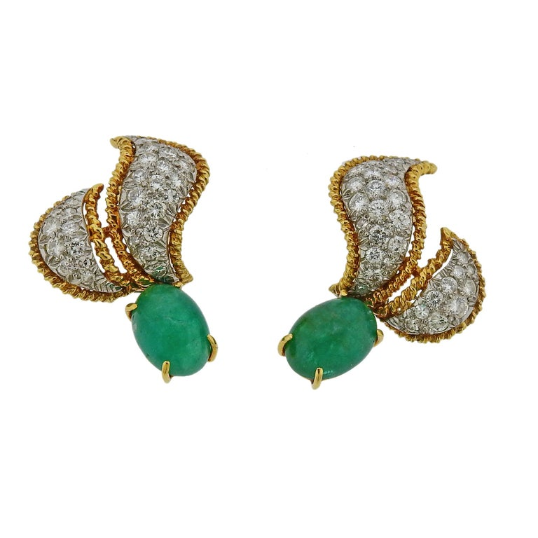 Convertible earrings crafted by David Webb, featuring removable emerald or gold drops. Earrings feature approximately 1.40ctw of H/VS-SI diamonds. Come with David Webb earring box.  Earrings have interchangeable detachable drops - measure 20mm x