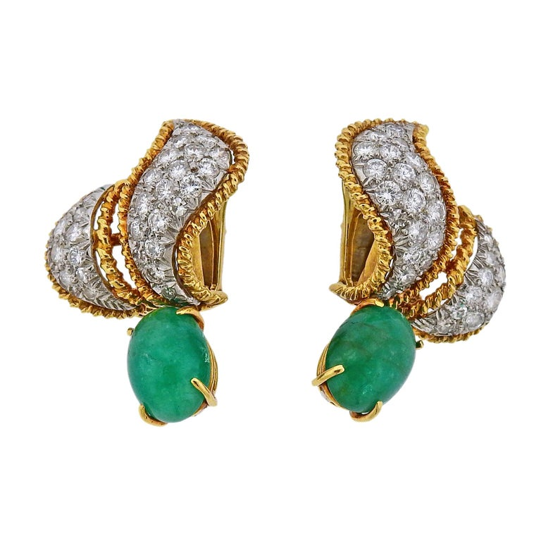 1960s David Webb Emerald Diamond Gold Platinum Night and Day Earrings
