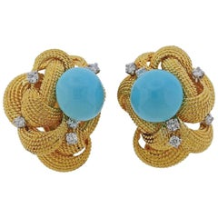 1960s David Webb Turquoise Diamond Gold Earrings