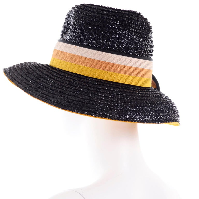 1960s Deadstock Vintage Yves Saint Laurent Straw Hat With Striped Ribbon W Tag In New Condition For Sale In Portland, OR