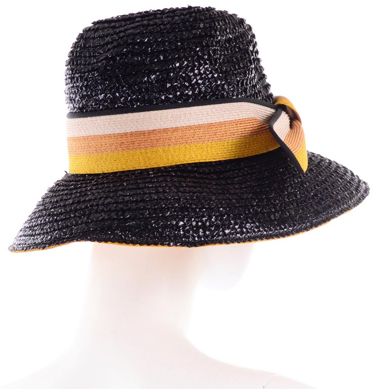 Women's 1960s Deadstock Vintage Yves Saint Laurent Straw Hat With Striped Ribbon W Tag For Sale
