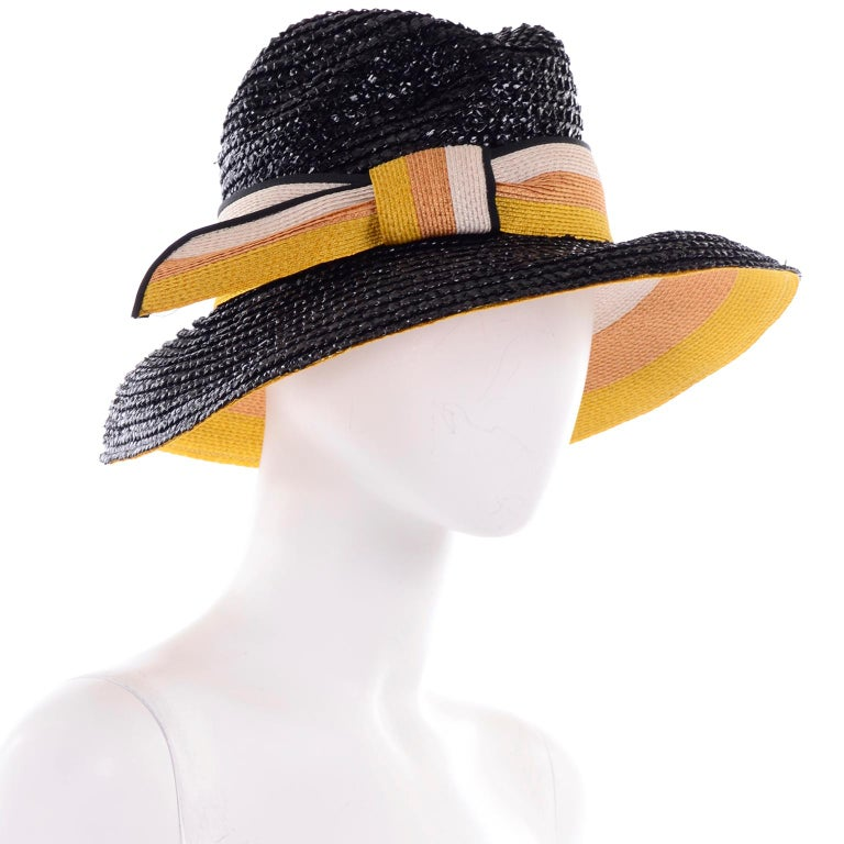 1960s Deadstock Vintage Yves Saint Laurent Straw Hat With Striped Ribbon W Tag For Sale 1