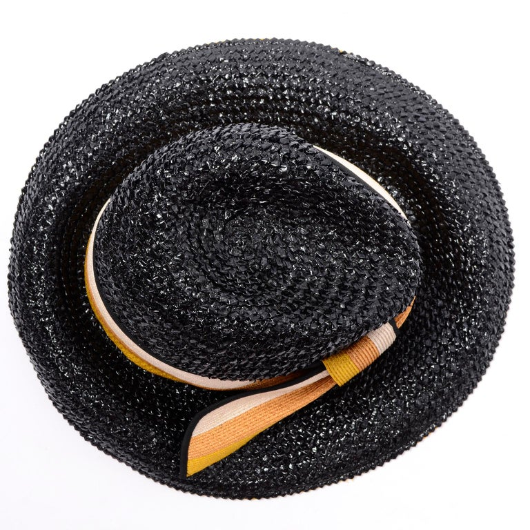 1960s Deadstock Vintage Yves Saint Laurent Straw Hat With Striped Ribbon W Tag For Sale 2