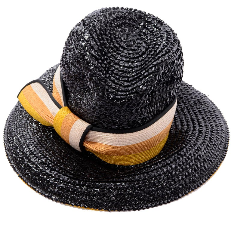 1960s Deadstock Vintage Yves Saint Laurent Straw Hat With Striped Ribbon W Tag For Sale 3