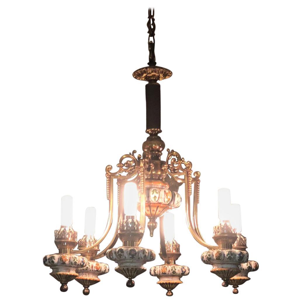 1960s Decorated Chandelier Brass Porcelain Italy Elegant Design