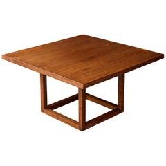 1960s Deep Hued Walnut Cube Coffee Table American Cabin Modern Rustic Ski Chalet
