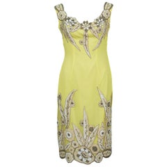 1960's Demi Couture Yellow Silk Dress With 1920's Beading