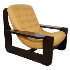 1960s Design Oak Wooden and Natural Leather Lounge Armchair