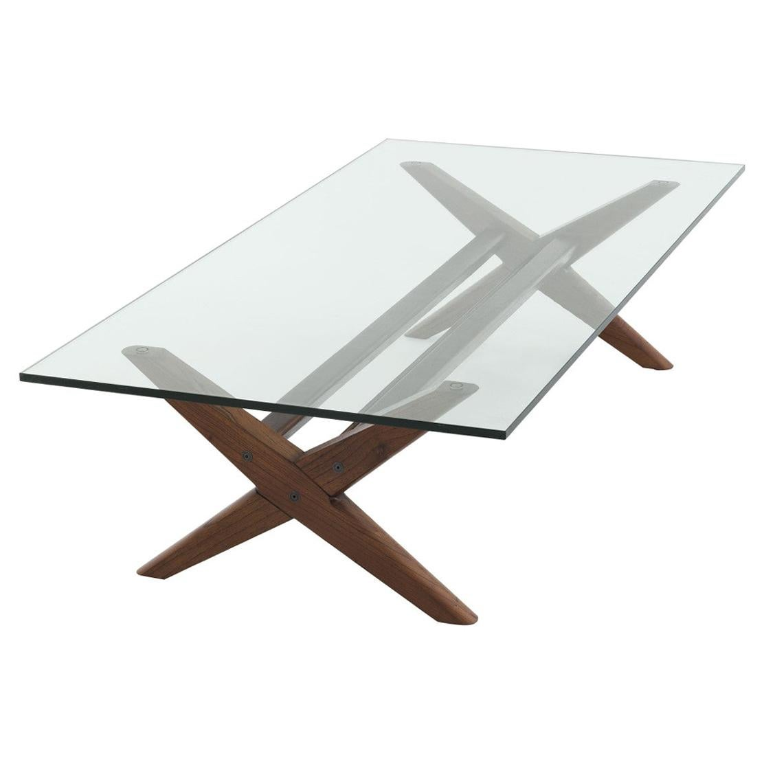 1960s Design Style Wooden and Glass Coffee Table