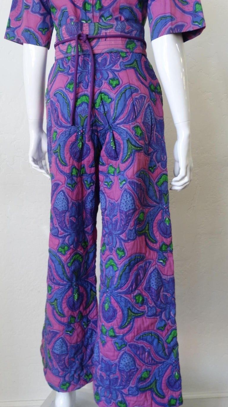 1960s Design Thai Quilted Wide-legged Jumpsuit For Sale 6