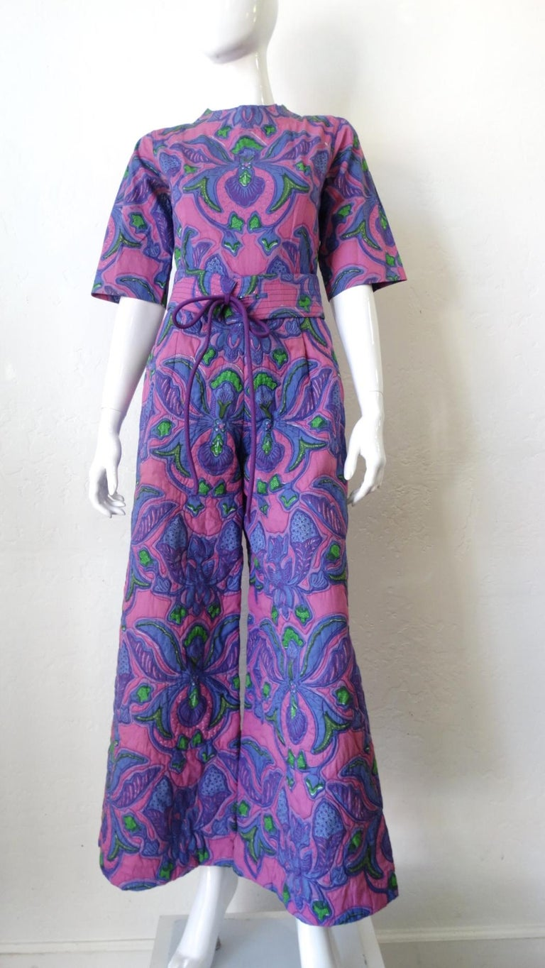 1960s Design Thai Quilted Wide-legged Jumpsuit For Sale 7